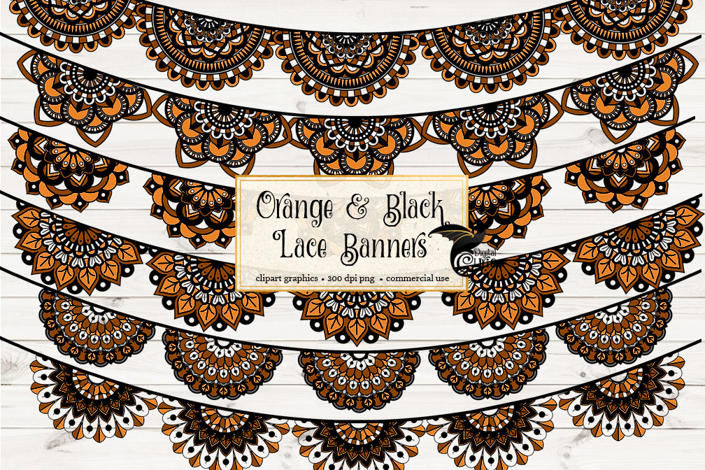 Orange and Black Lace Banners Clipart example image 1