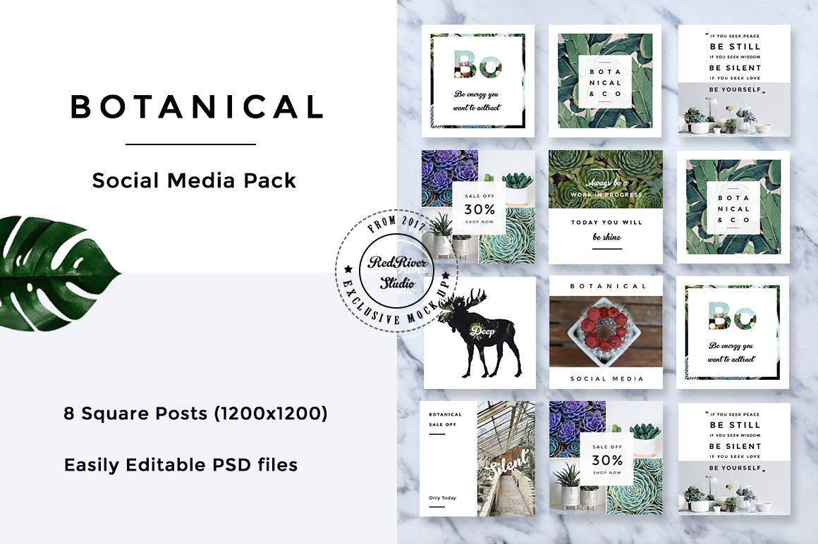 Botanical Social Media Pack example image 1