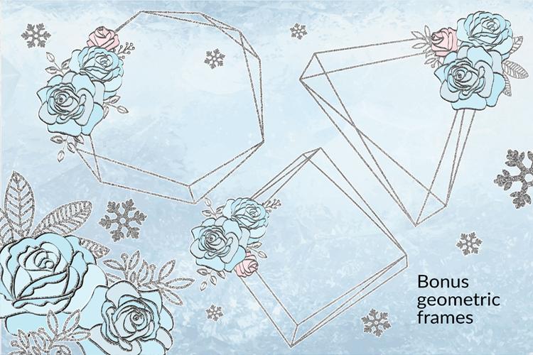 ICE MERMAID Glitter Christmas Illustration Set example image 8