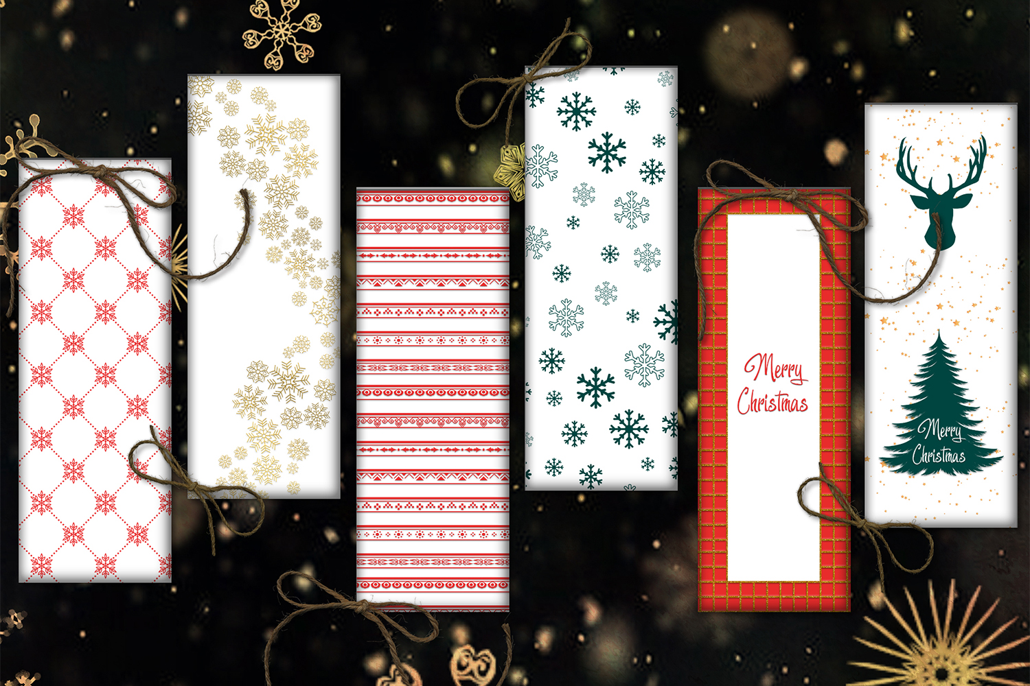 Christmas Bookmarks, Bookmarks Digital, Christmas Cards example image 1