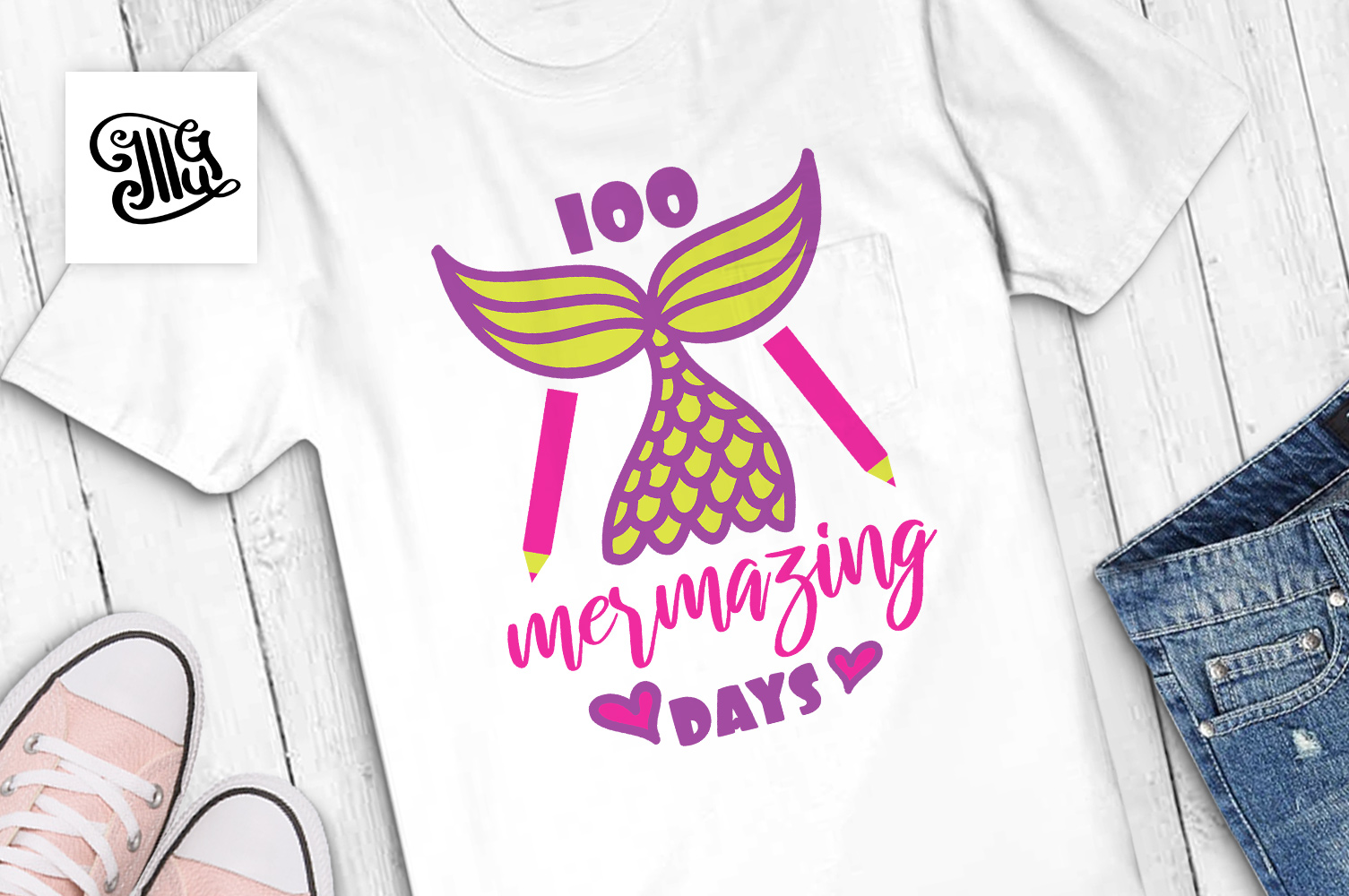 100 days of school svg mermaid example image 1