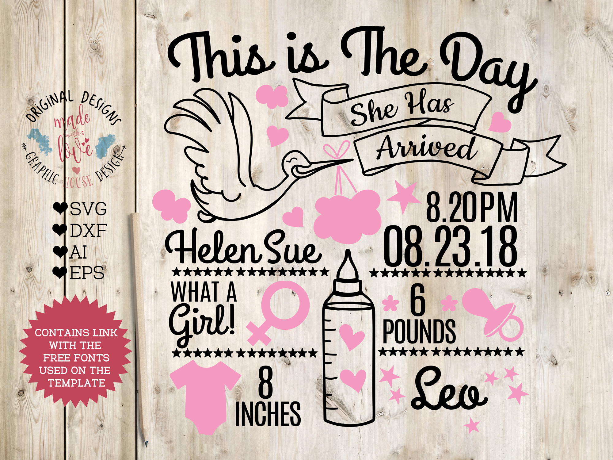 baby girl birth announcement chart in svg dxf eps ai. Black Bedroom Furniture Sets. Home Design Ideas