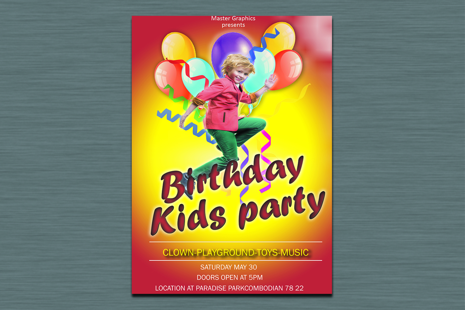 Birthday invitation card in 3 colours example image 4
