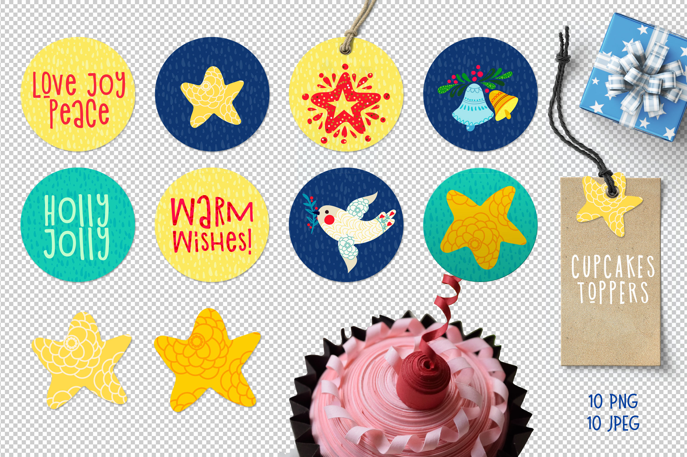 Christmas Gift Tag, cupcakes toppers example image 4