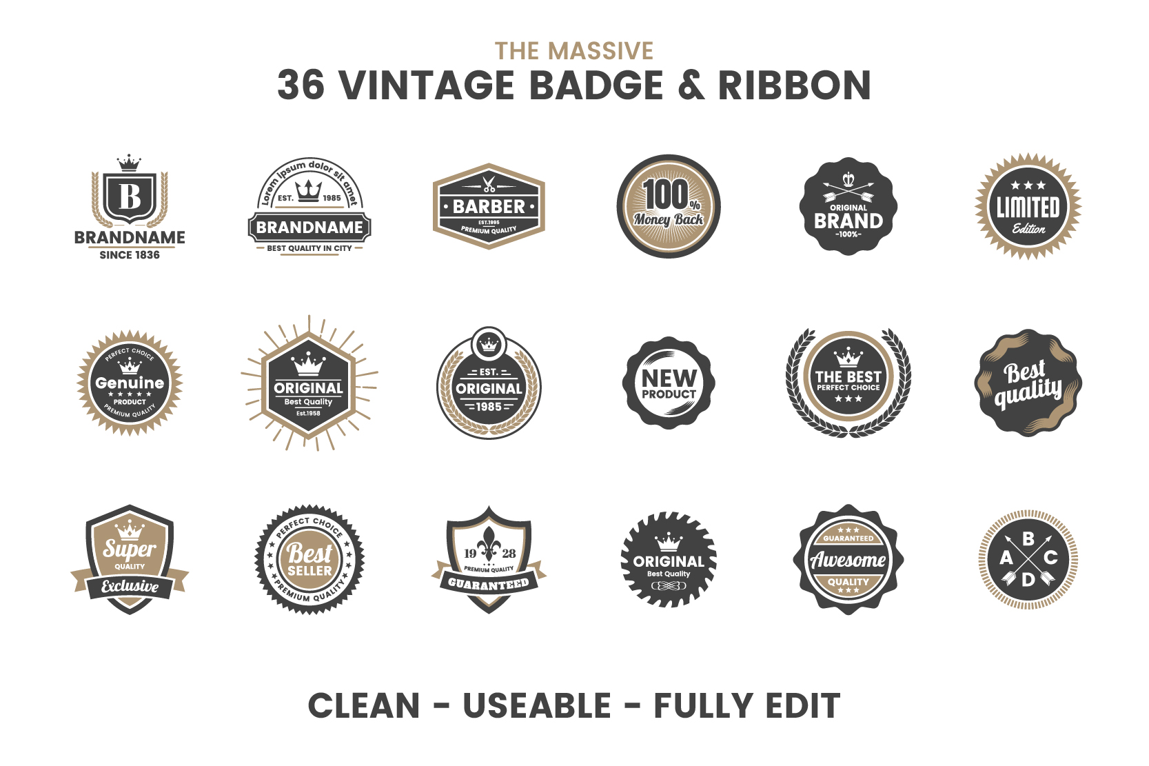 36 VINTAGE BADGE & RIBBON Vol.5 example image 7