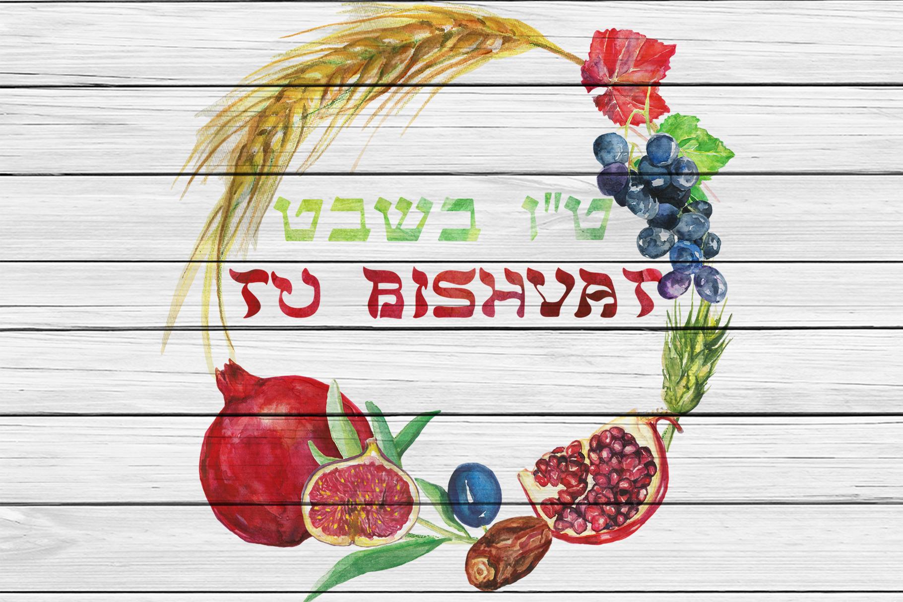 Watercolor Tu Bishvat digital clip art example image 6