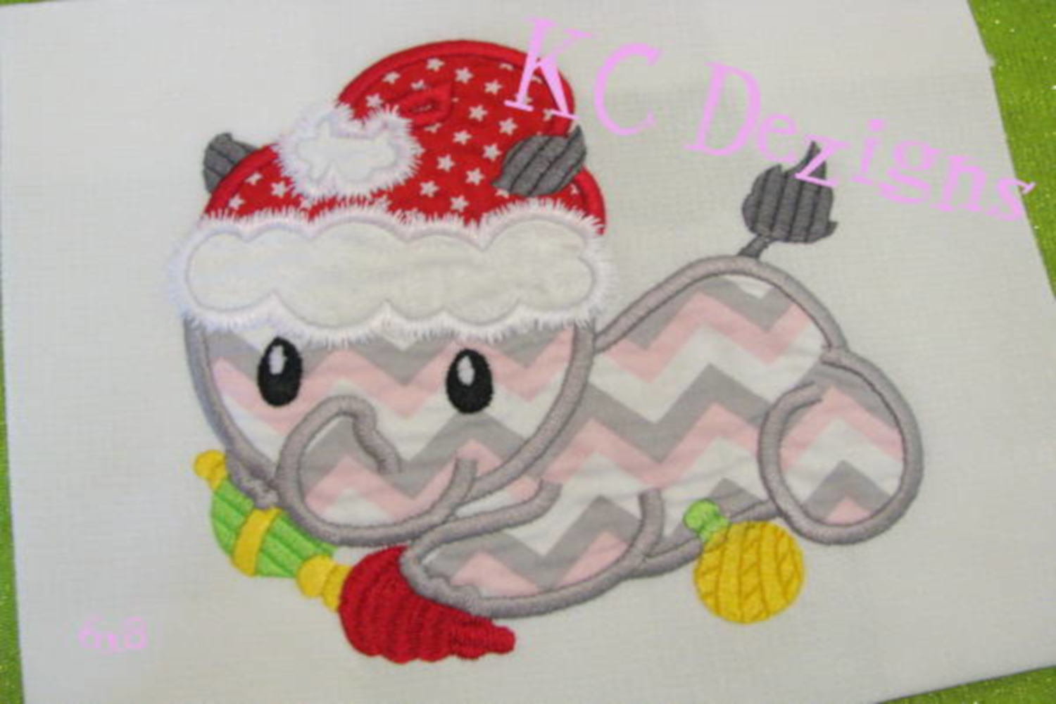 Christmas Baby Rhino Machine Applique Embroidery Design example image 2