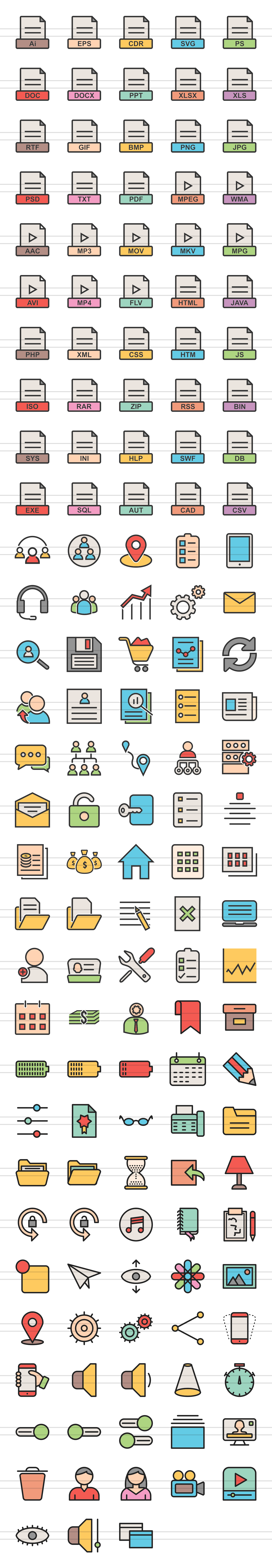 148 Files & Folders Filled Line Icons example image 2