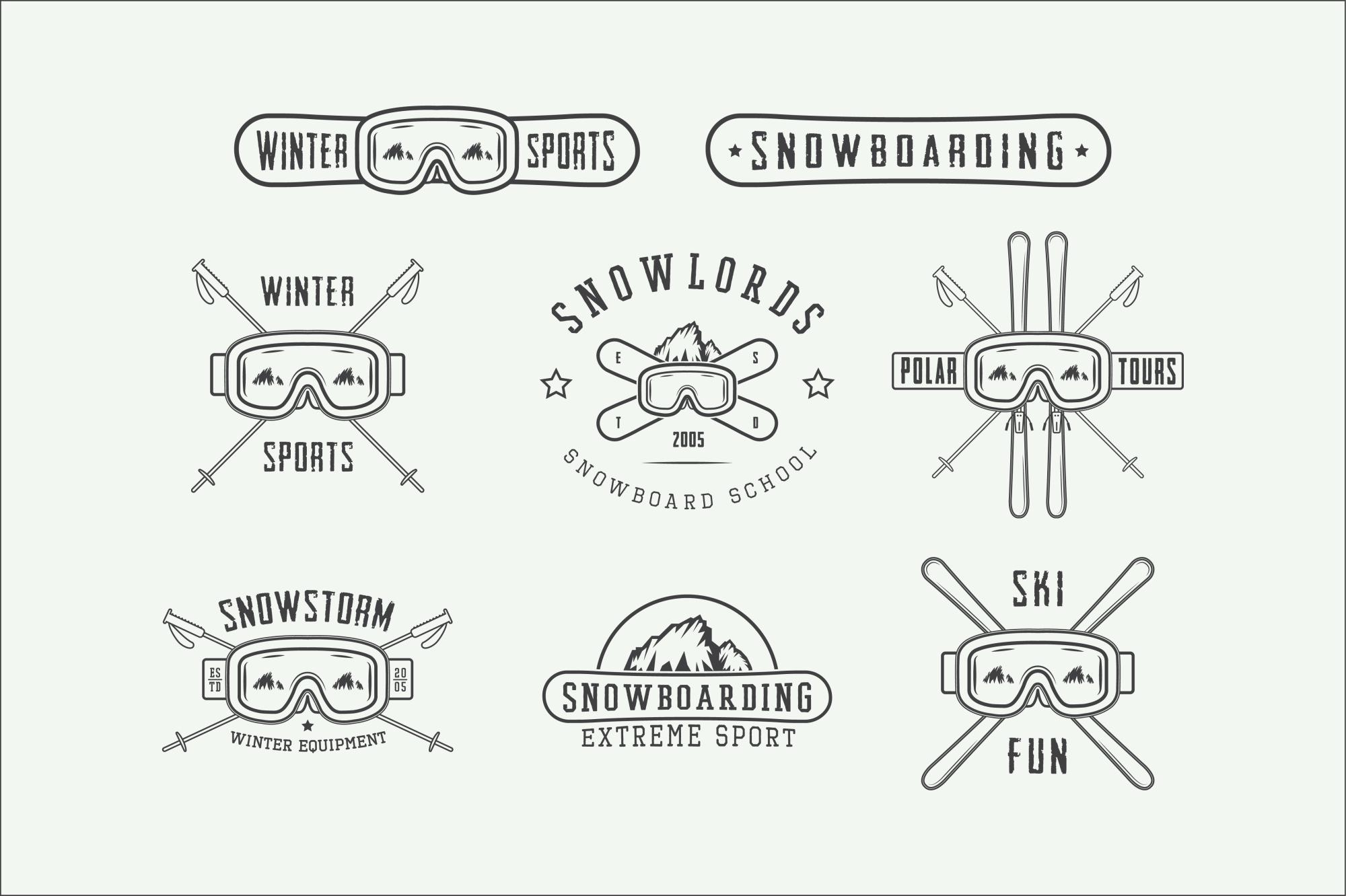 Set of vintage winter sports emblems example image 5