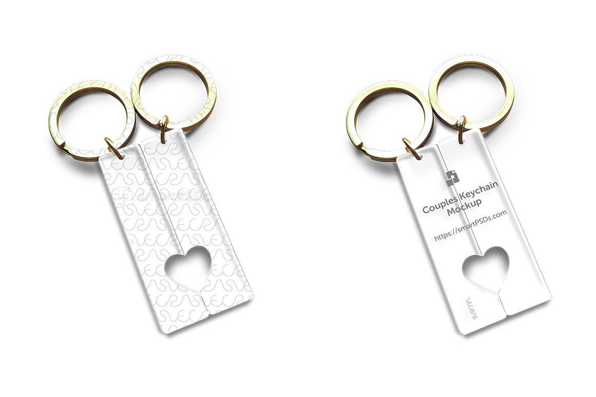 Open Heart Couples Keyring PSD Design Mockup example image 2