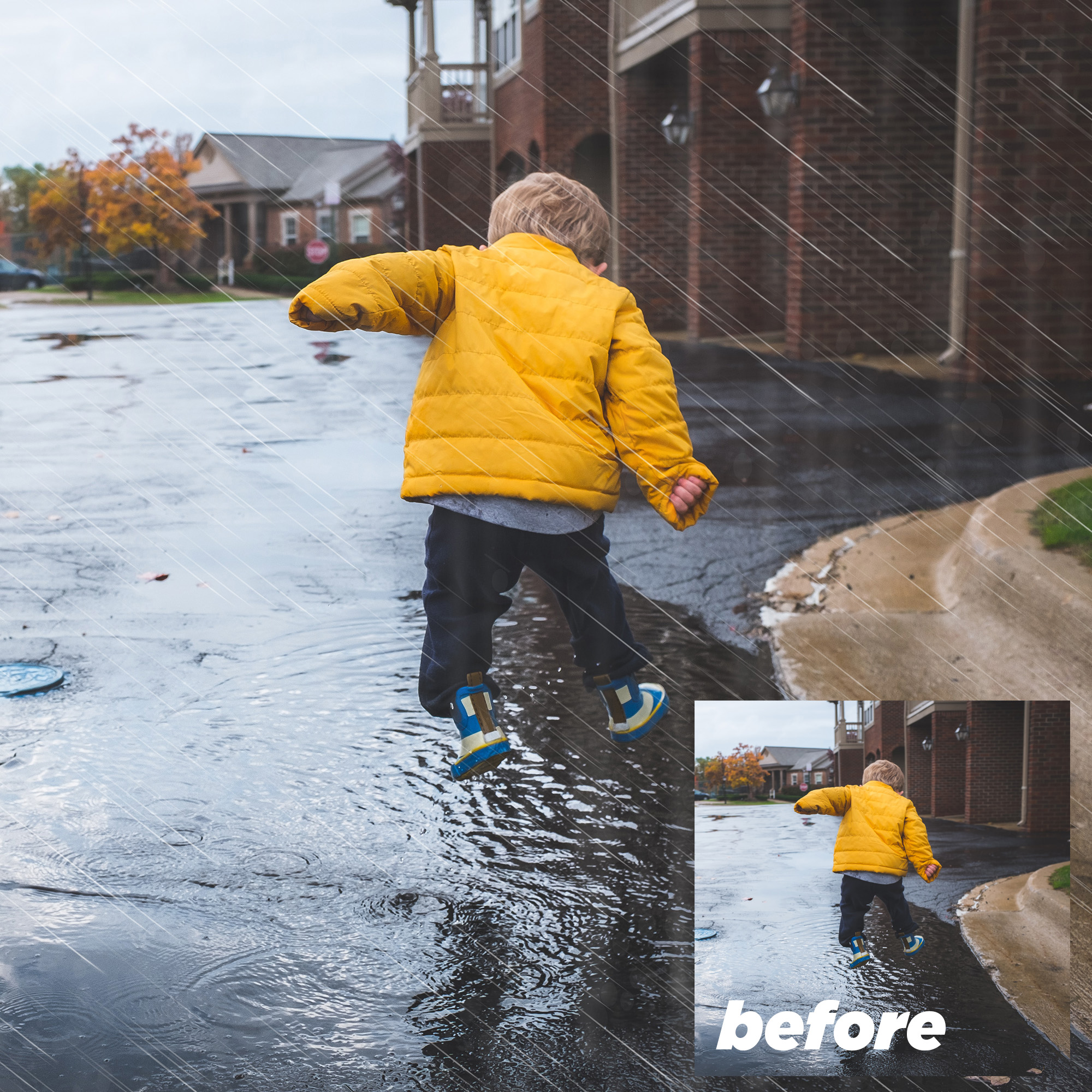 Rain Overlays Clipart, Falling Rain, Photoshop Overlays example image 3