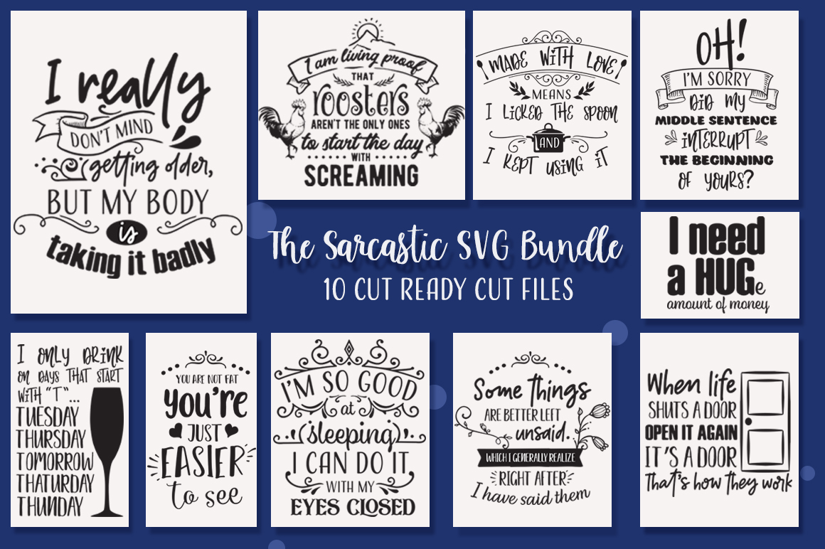 The Sarcastic SVG Cut Files Bundle with 10 Items example image 1