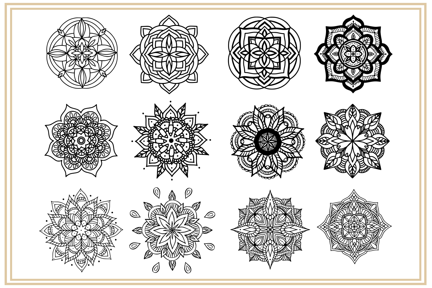 36 hand drawn mandalas. EPS, PNG, SVG Designs example image 3