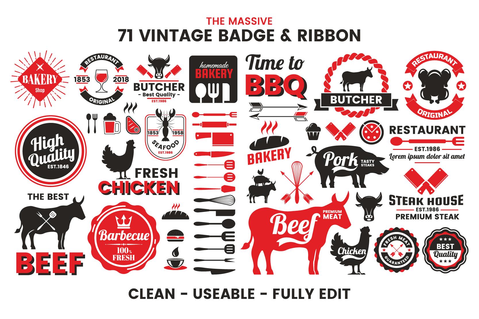 71 VINTAGE BADGE & RIBBON Vol.7 example image 5