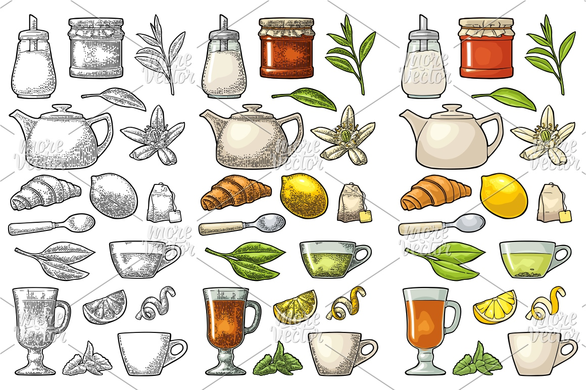 Set tea with lettering. Vector vintage engraving example image 1