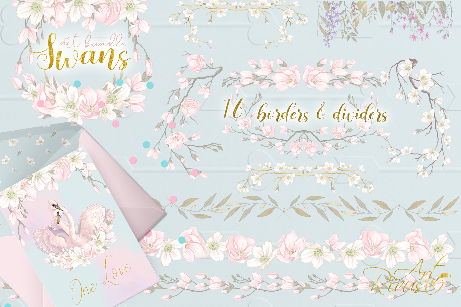 Swans clipart bundle. Wedding and baby shower graphic pack. example image 6