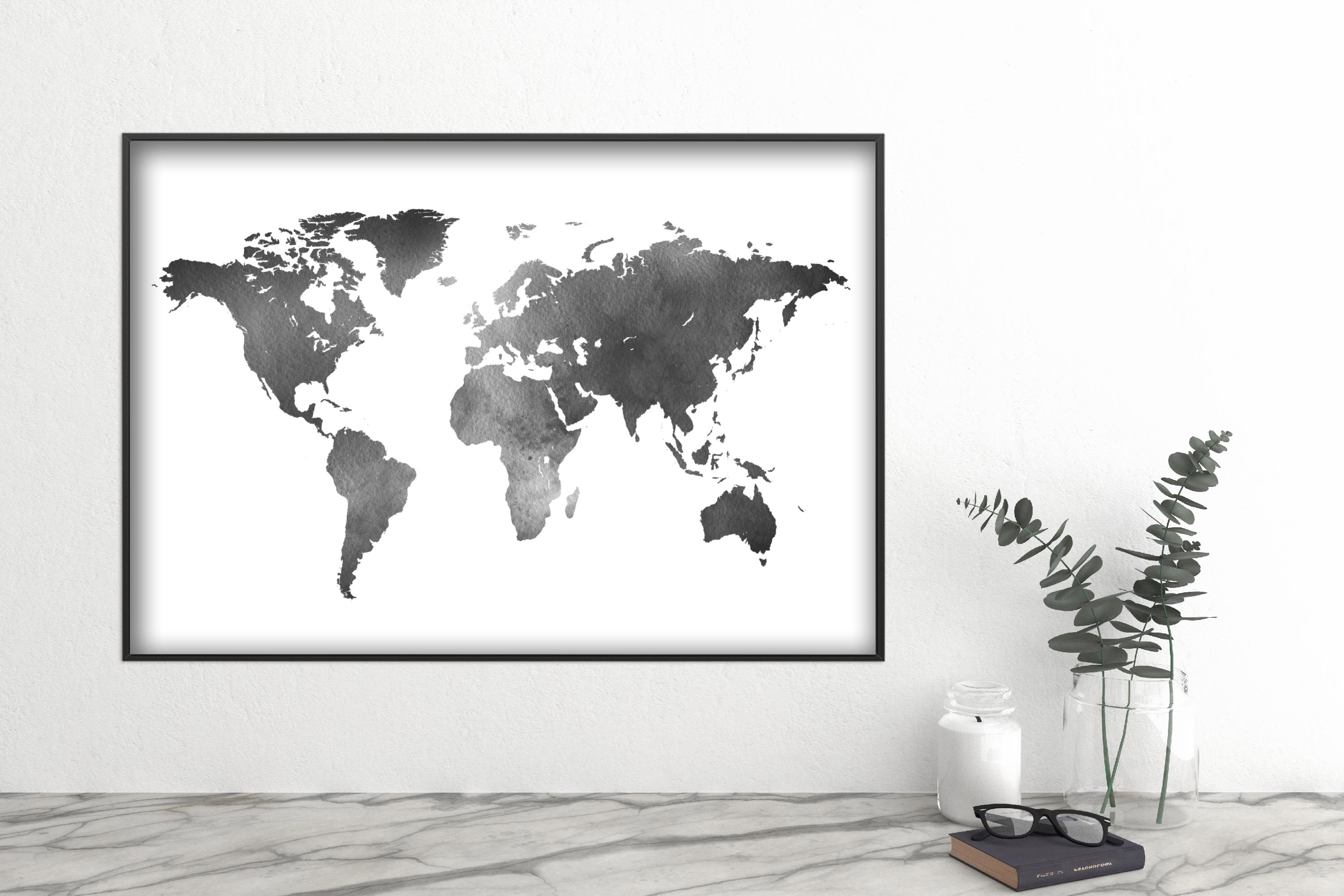 Black and White World map wall art printable download files example image 3