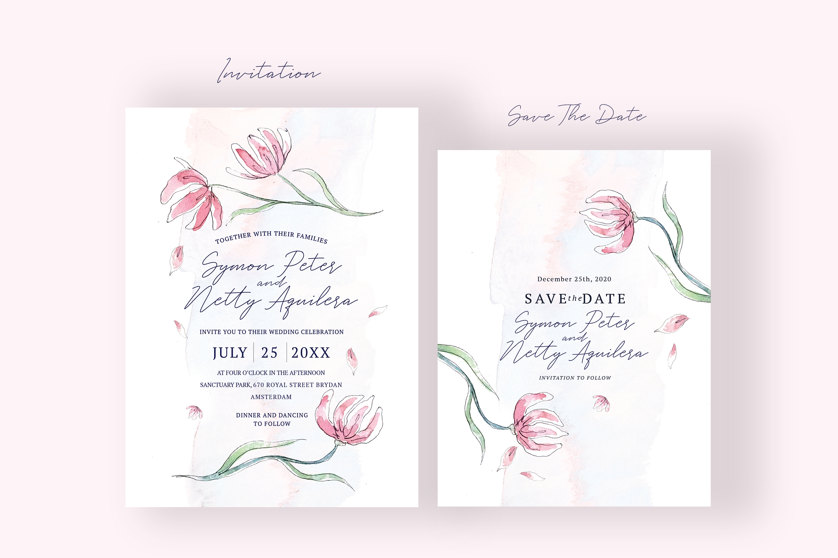 Pink Floral Wedding Invitation Suite example image 2