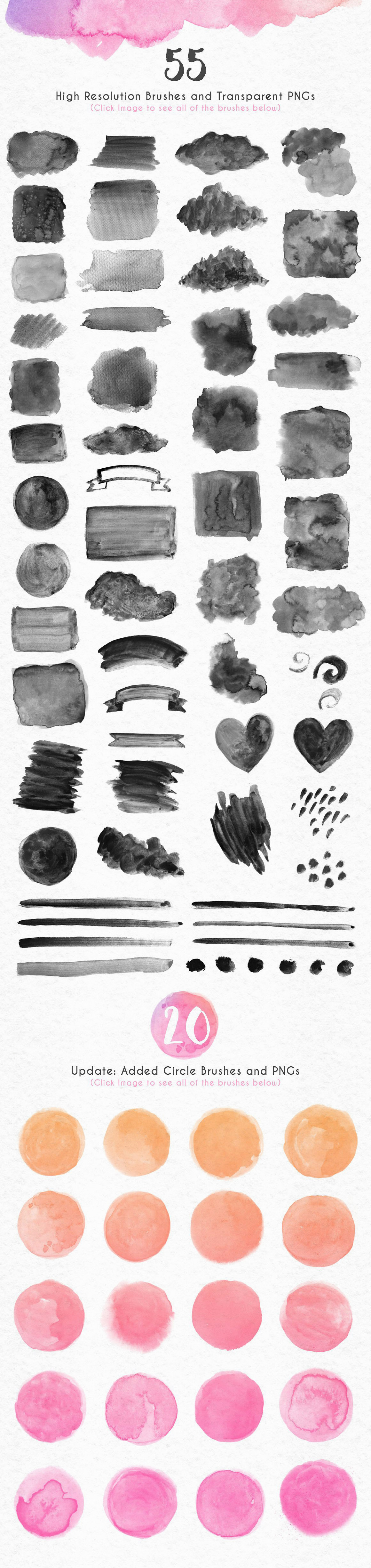 New Watercolor Textures and Graphics Bundle example image 15