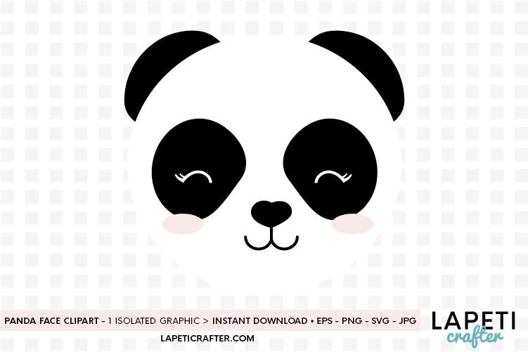 Panda face svg, eps, jpg, png, cute panda bear clipart example image 1