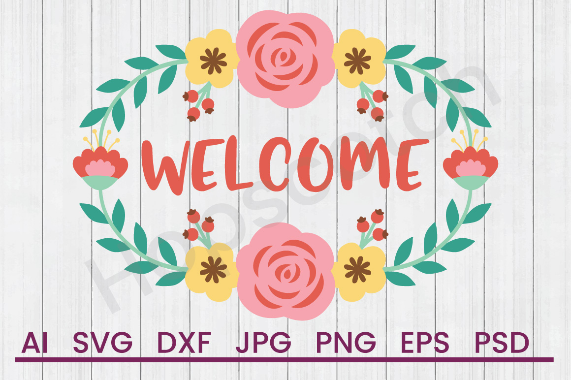Banner SVG, Welcome SVG, DXF File, Cuttatable File example image 1