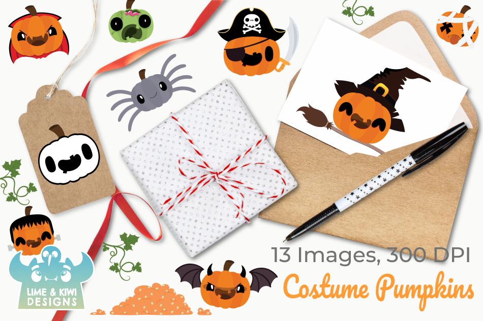 Costume Pumpkins Digital Clipart, Instant Download Vector example image 4