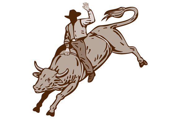 Rodeo Cowboy Bull Riding example image 1
