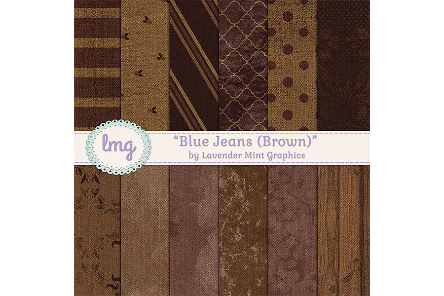 Brown Blue Jeans Digital Papers example image 1