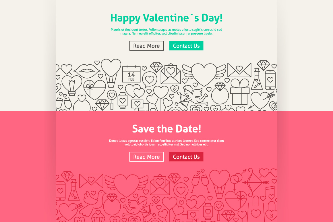 Valentine's Day Line Art Web Banners example image 4