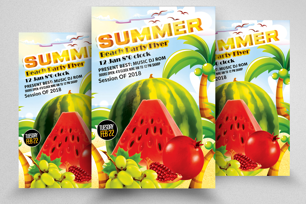 10 Summer Beach Cocktail Party Flyers Bundle example image 10