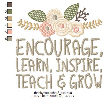 Teachers Day, Thank You Teacher, Quote for Teacher Embroidery Design Instant Download Digital File Hoop 4x4 5x7 6x10 example image 5