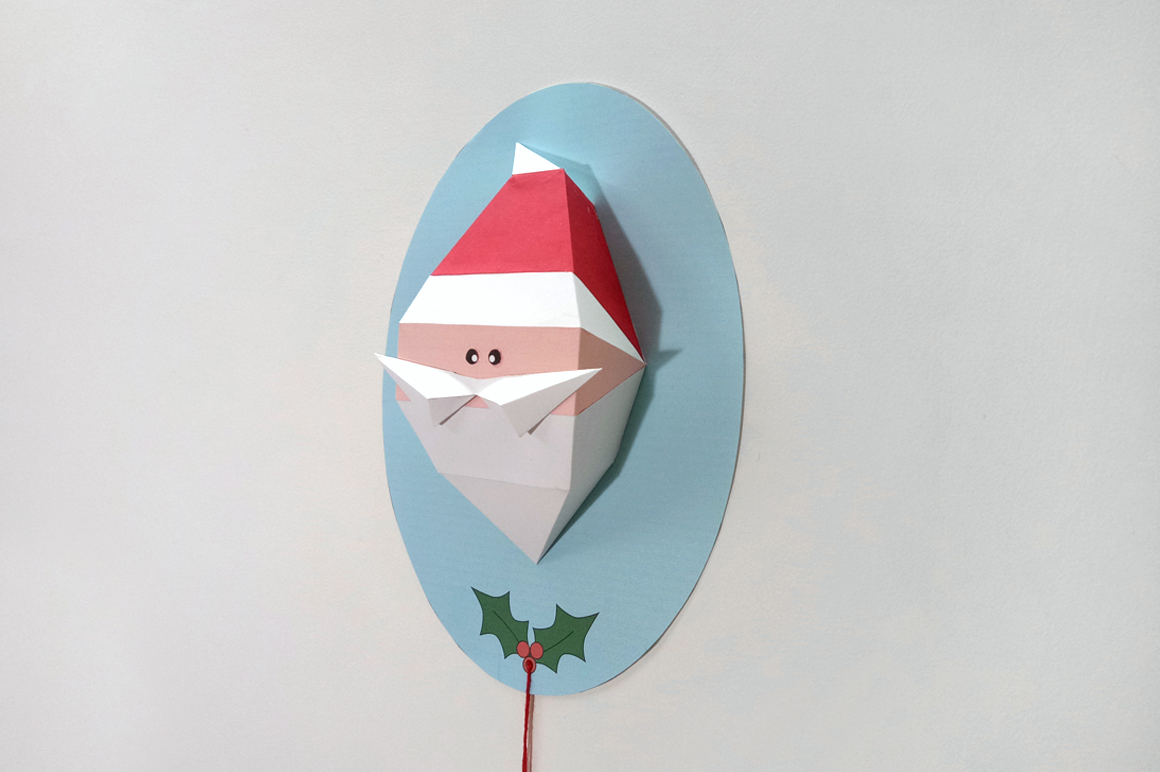 DIY Santa Claus Trophy - 3d papercraft example image 4