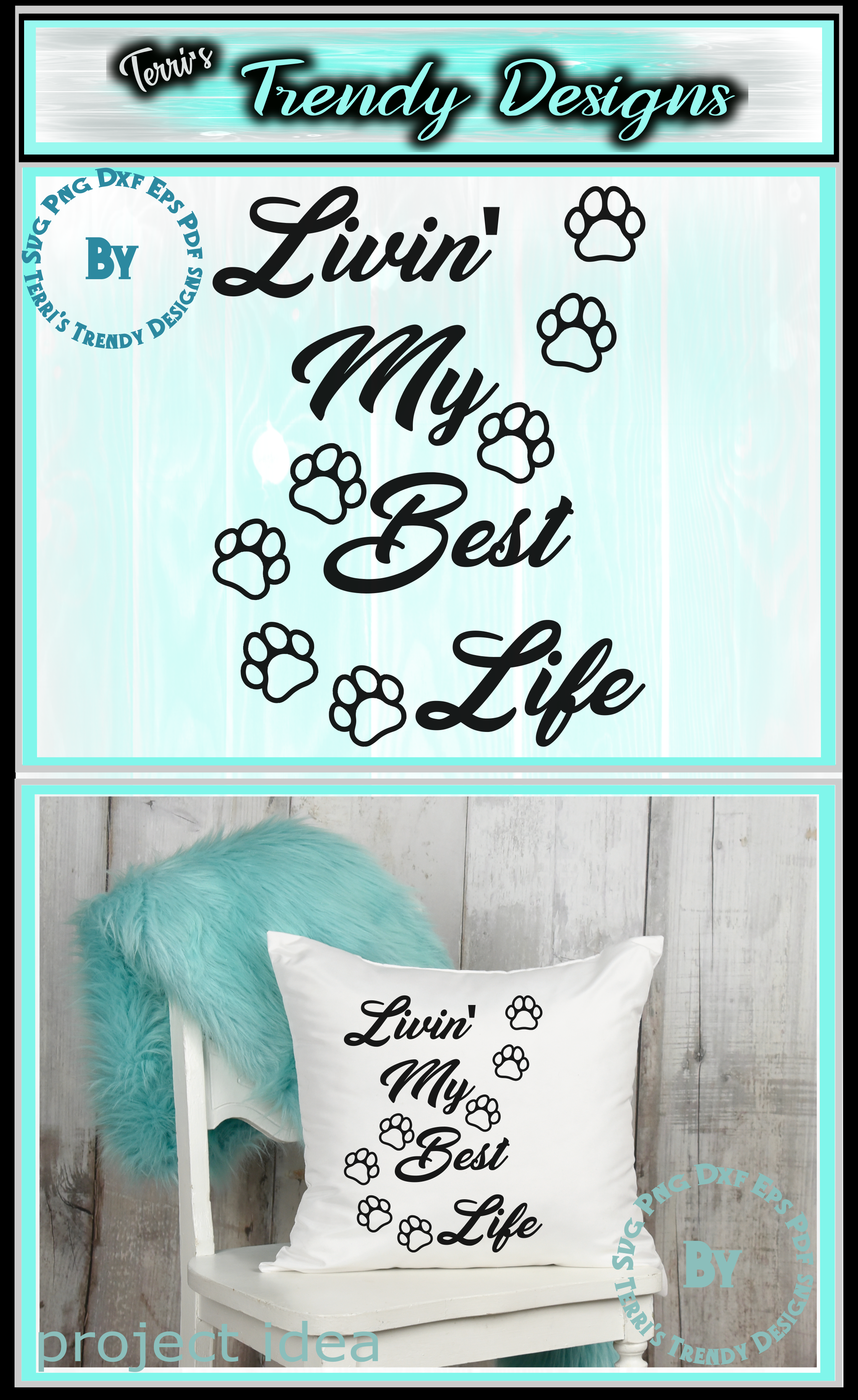 Cat lover livin' the best life cute paws svg png dxf eps pdf example image 4