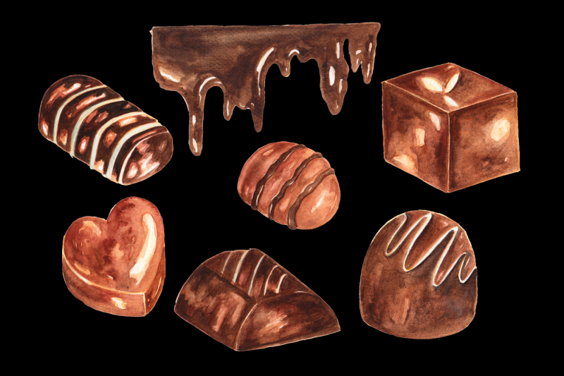 Chocolates Watercolor Clipart example image 2