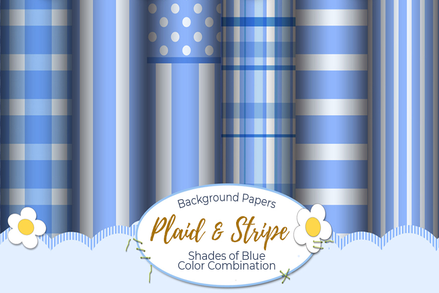 54 Plaid,Stripe & Dots on Blue Shades JPG Background Papers example image 10