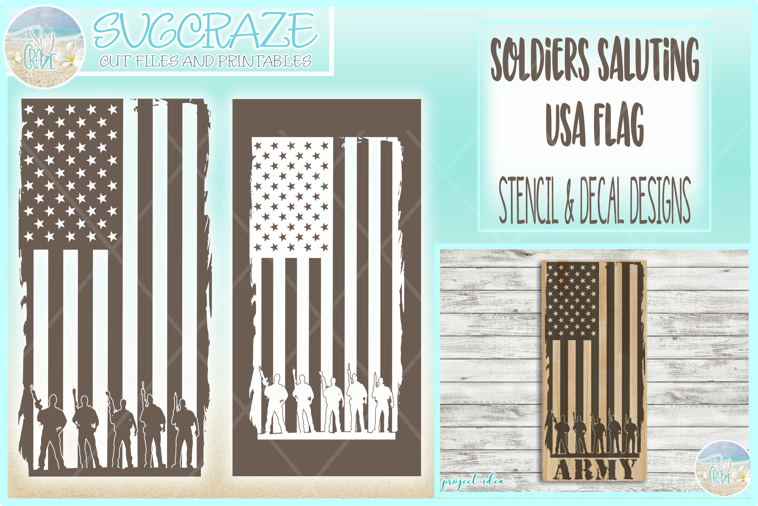 Usa Flag Soldiers Military Stencil Decal SVG DXF EPS PNG PDF example image 1