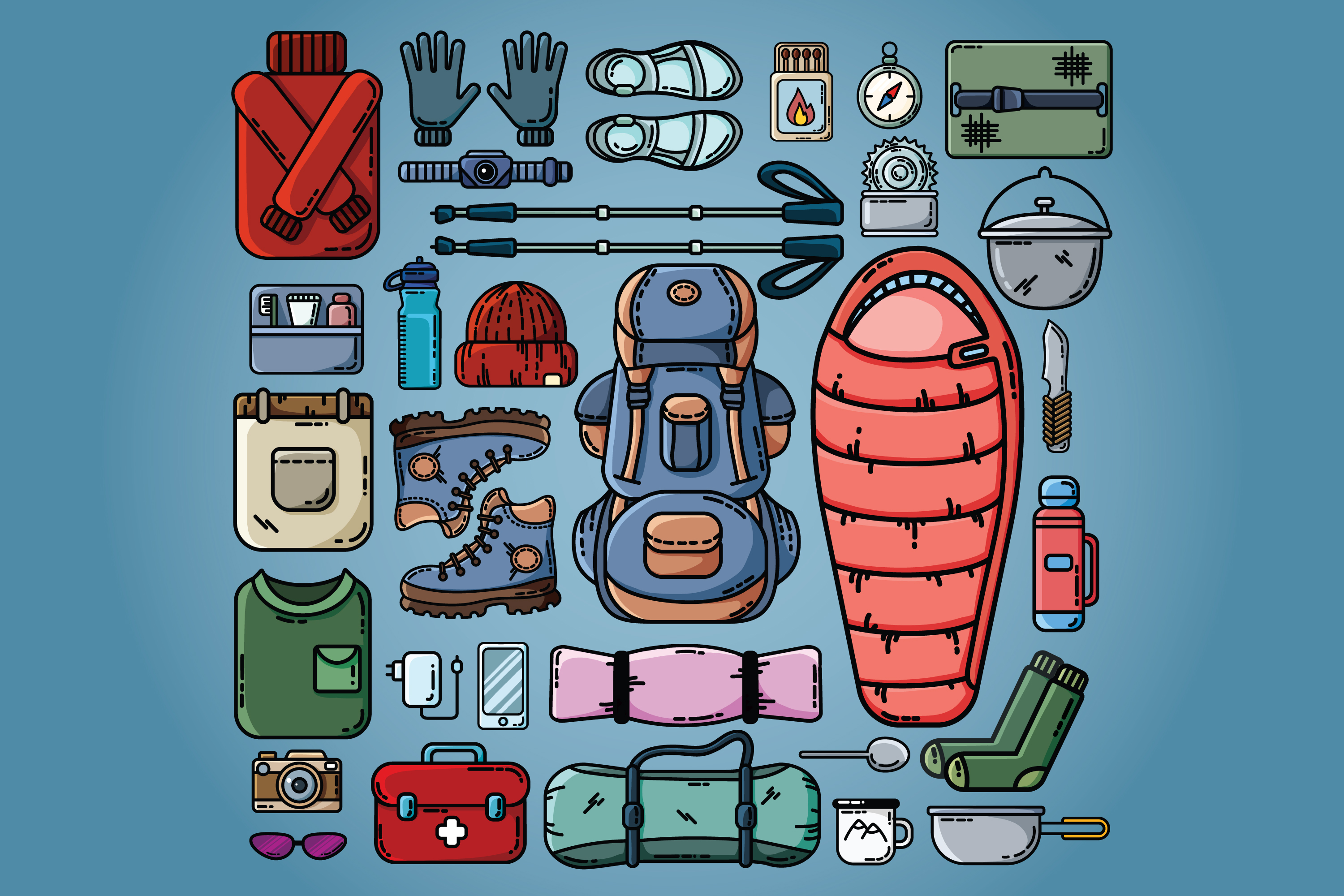 Let's Go Camping Icons Set example image 3