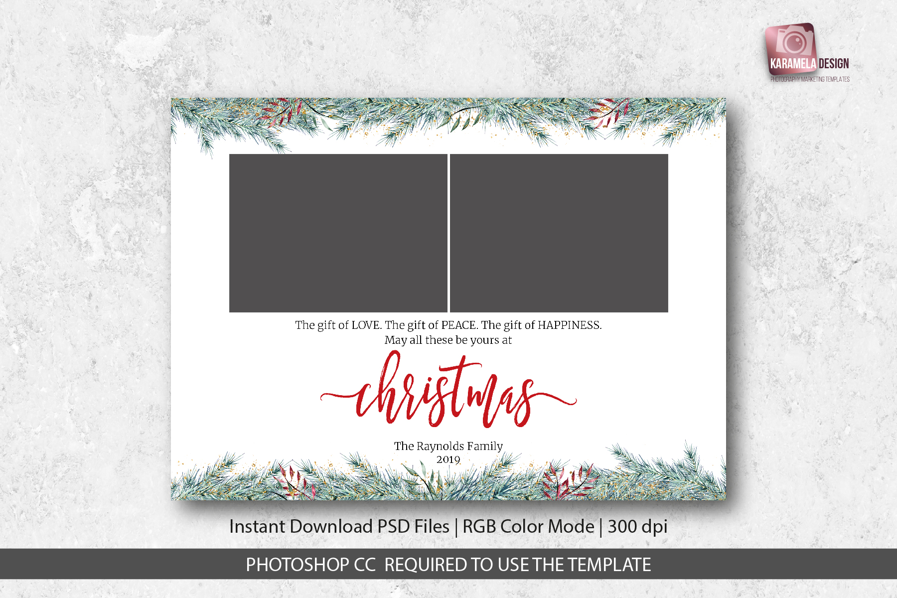 Christmas Card Template.Christmas Card Template For Photographers