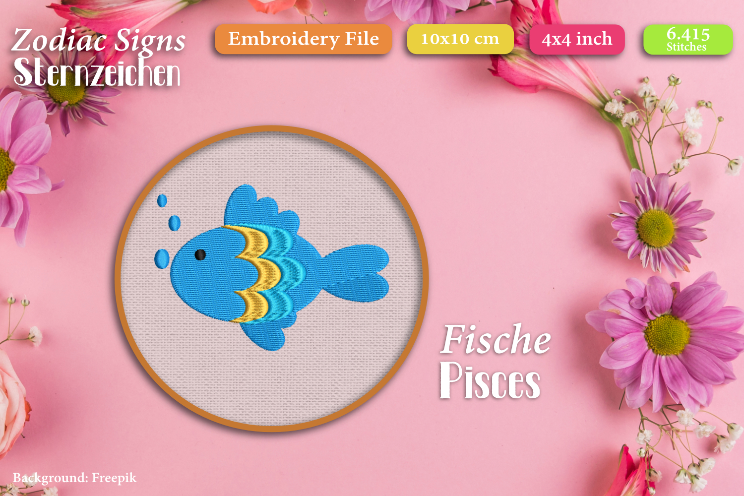 Zodiac sign - Pisces - Embroidery Files example image 1