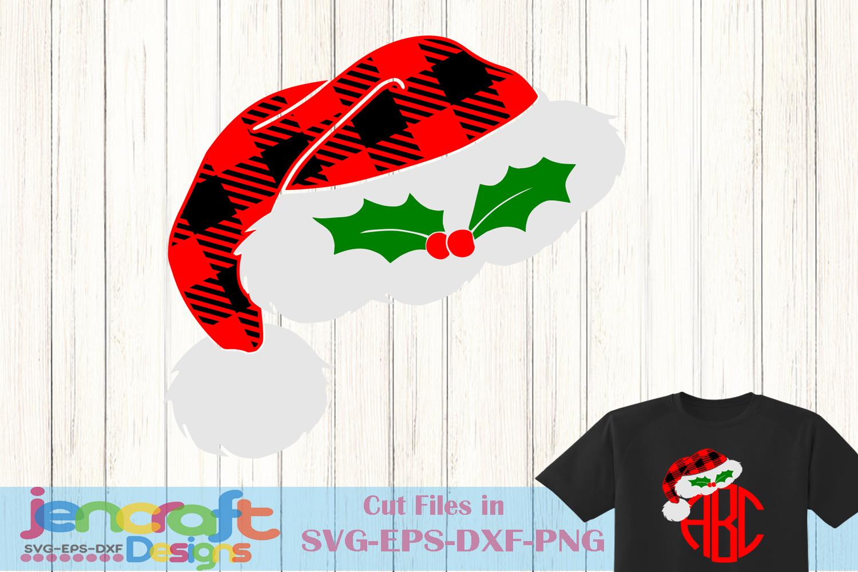 Christmas SVG - Plaid Santa Hat Monogram Frame svg example image 1
