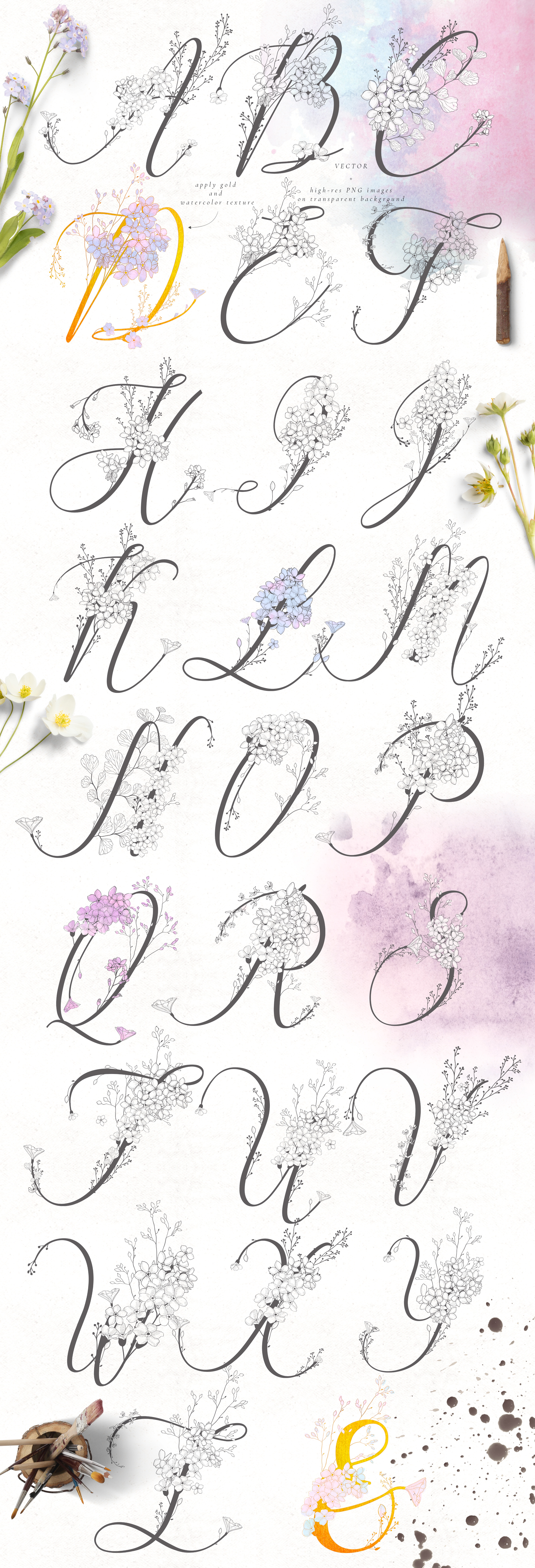 Flowered Monograms & Logo Collection example image 3