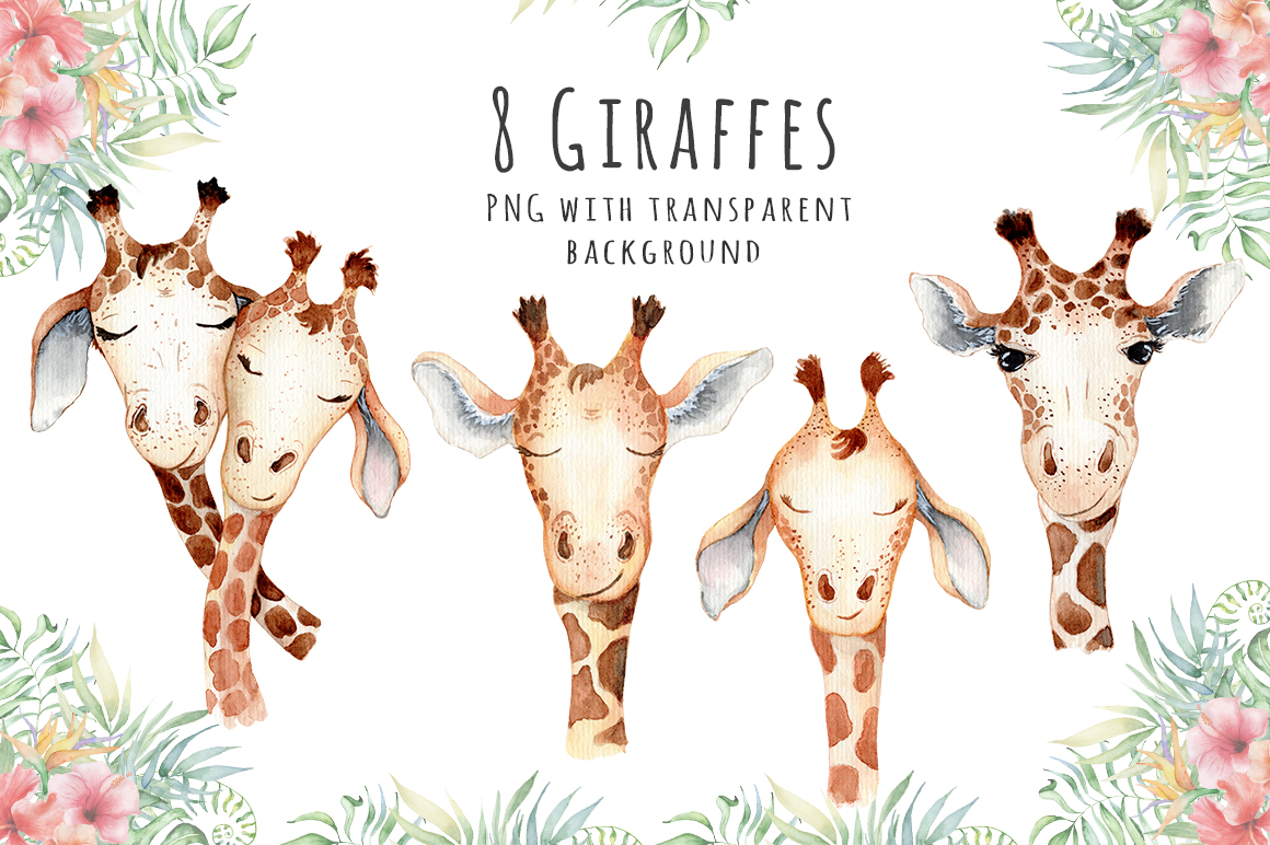 Lovely Giraffes watercolor illustration example image 3