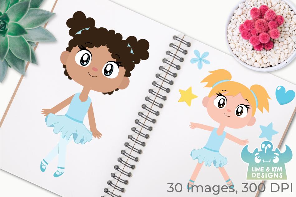 Ballerinas 2 Clipart, Instant Download Vector Art example image 3