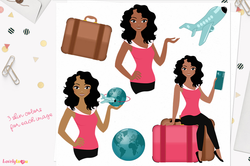 Woman travel character clip art L134 Dezi example image 1