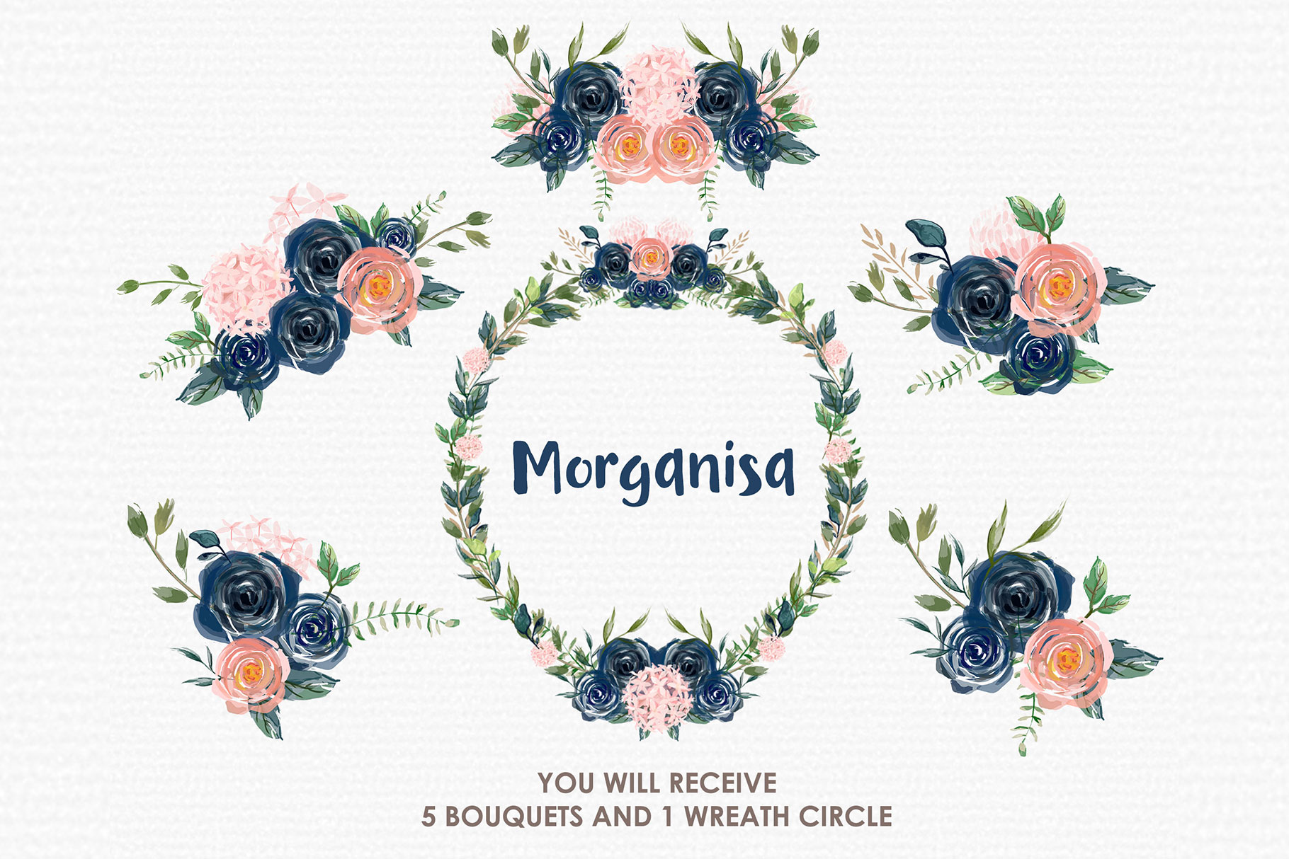 Morganisa - Digital Watercolor Floral Flower Style Clipart example image 3