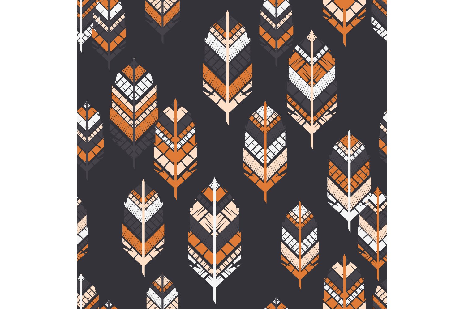 Indian colorful feathers. Set of 10 seamless patterns. example image 8