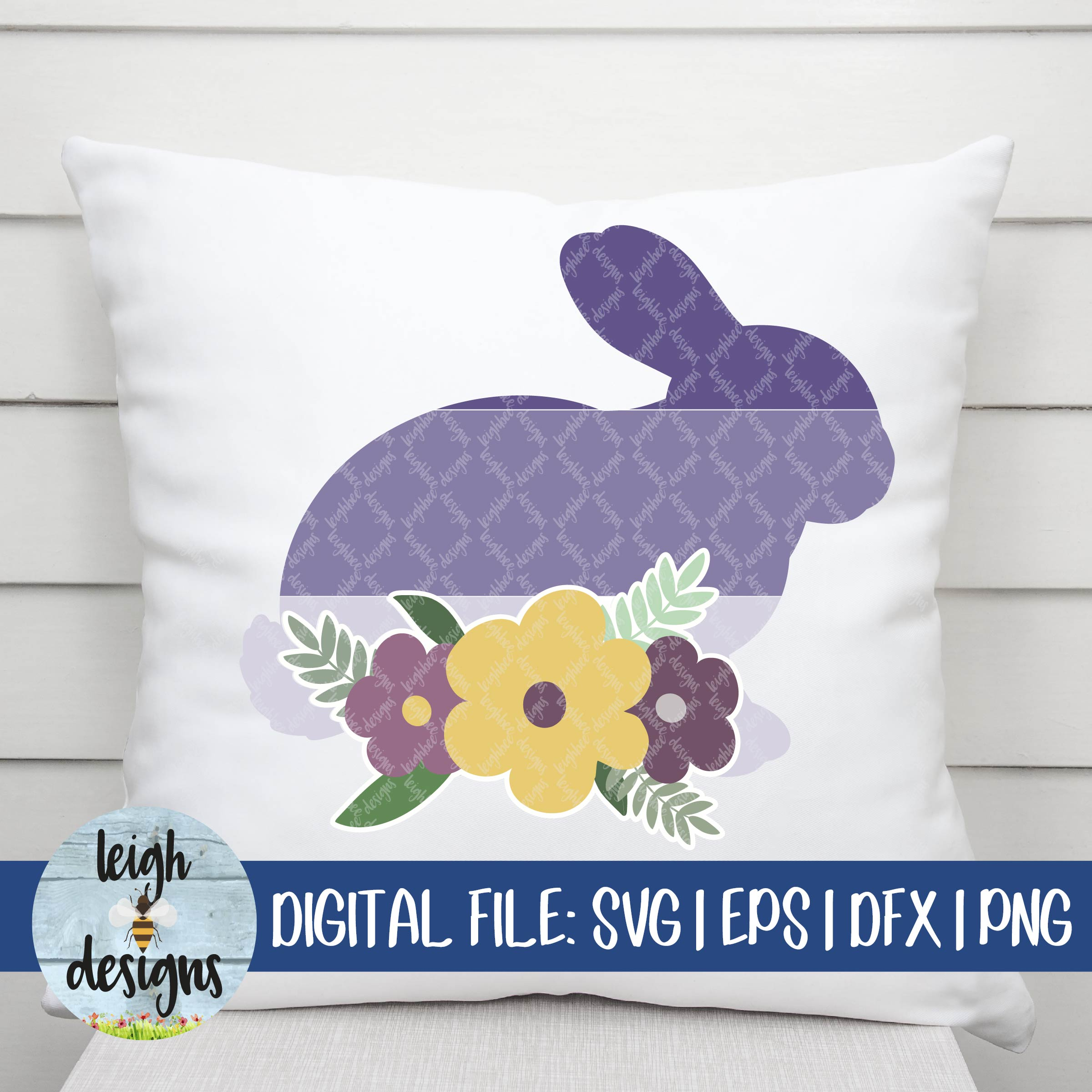 Ombre Bunny with Flower Swag SVG EPS DFX PNG Cut File example image 5