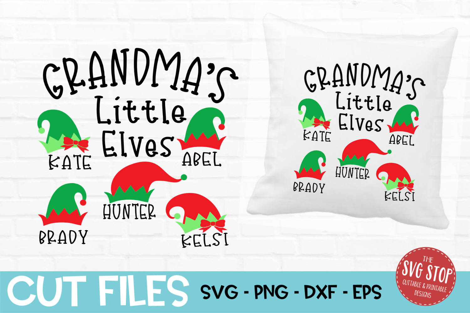 Grandma Little Elves Christmas SVG, PNG, DXF, EPS example image 1