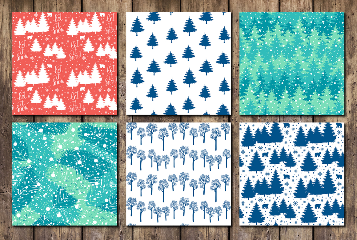 12 Holiday cards + 12 patterns example image 5