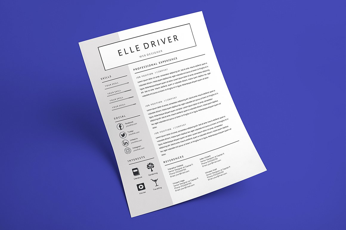 simple elegant ms word resume template  116414